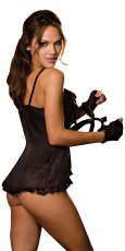 TIE FRONT BABYDOLL THONG GLOVES BLACK O/S