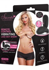 SECRETS BOYSHORTS VIBRATING W/REMOTE BLACK O/S