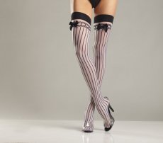 SPANDEX SHEER STOCKING W/ STRIPES & SATIN BOWS