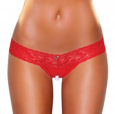 CROTCHLESS PANTIES W/PEARL BEADS RED SM