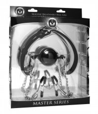 MASTER SERIES BALL GAG SILICONE WITH NIPPLE CLAMPS