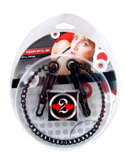 (WD) H2H NIPPLE CLAMPS BARREL W/CHAIN BLACK