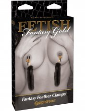 FETISH FANTASY GOLD FEATHER NIPPLE CLAMPS