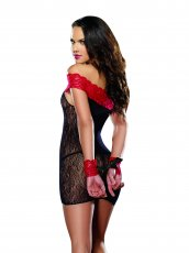 (D) CHEMISE THONG & RESTRAINT BLACK/RED O/S