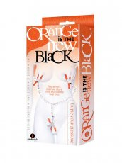 9'S ORANGE IS THE NEW BLACK TRIPLE YOUR PLEASURE CLAMPS & CHAIN