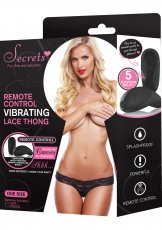 SECRETS LACE THONG VIBRATING W/REMOTE BLACK O/S