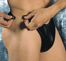 MENS REVEALING LEATHER THONG