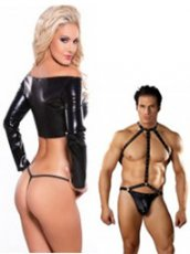 Latex Leather and Lace Lingerie Wet Look