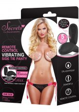 SECRETS PANTY SIDE TIE BLK/PNK VIBRATING W/REMOTE O/S