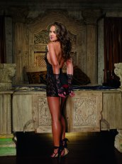 (WD) CHEMISE & THONG WITH GLOV RESTRAINTS BLACK O/S