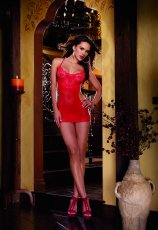 (D) LACE CHEMISE W/ OPEN BACK THONG RED O/S