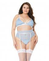 Scallop Stretch Lace Bra, Garter Belt & G-String Light Blue/White 2X