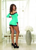 (D)LONG SLEEVED TUNIC & THONG TURQUOISE/BLACK O/S