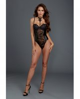 Venice Lace & Stretch Faux Leather Teddy w/Snap Crotch Black LG