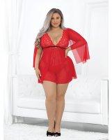 Shawl Sleeved Babydoll Red 3X