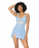 Scallop Stretch Lace & Mesh Babydoll & Thong Light Blue/White MD