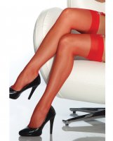 Sheer Thigh High Stocking Red O/S
