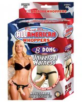 Real Skin 8' Dong All American Whoppers w/Universal Harness