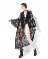 Darque Long Bell Sleeve Robe Black O/S