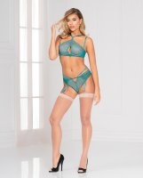 High Neck Underwire Lace Bra & Thong w/Removable Garters Teal LG