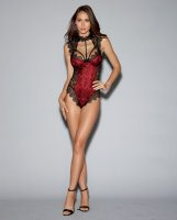 Stretch Satin Teddy w/Underwire Cups & Lace Overlay, Tie Back Collar & Snap Crotch Black/Red MD