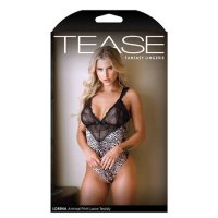 TEASE Lorena Animal Print and Lace Teddy M/L