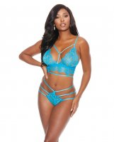 Strap & Lace Bra & Thong Turquoise XL