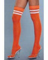 Ribbed Athletic Thigh Highs Orange O/S