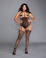 Fishnet & Lace Teddy Bodystocking w/Attached Garters & Thigh Highs Black QN