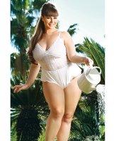 Premiere Lace Romper White 2X