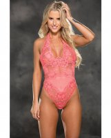 Floral Stretch Lace & Mesh Teddy Coral MD