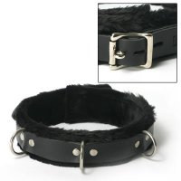 (WD)STRICT LEATHER COLLAR FUR LINED 1IN WIDE