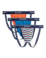 2Xist 3 pk Stretch Fashion Jock Strap Stripe, Red, & Blue SM