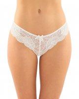 Poppy Crotchless Floral Lace Panty White S/M