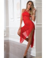 2PC SHOULDER BARING LACED NIGHT DRESS BRIGHT CHERRY