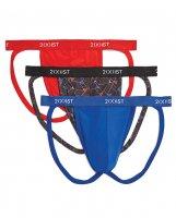 2XIST 3 pk Micro Speed Dri Jock Strap Red, Black, Blue XL