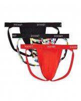 2Xist 3 pk Micro Speed Dry Jock Strap Red, Glitch & Black SM