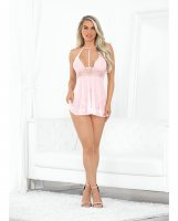 Valentines Hi Neck Sheer Babydoll w/Open Crotch Panty Pink LG