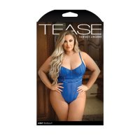 Tease Abby Bodysuit With Structured Elastic Detail, Thong-Cut Back And Snap Closure Cobalt Blue 1X/2X