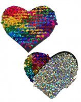 PASTEASE RAINBOW & SILVER GLITTER COLOR CHANGING SEQUIN HEART NIPPLE PASTIES