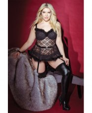 Holiday Sheer Lace Bustier w/Removable Garters Black 3X/4X