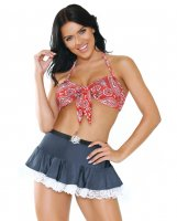 Play Woodys Roundup Halter Bra, Skirt w/Lace Trim & Ruffled Panty Red/Blue M/L