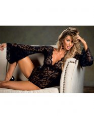 Stretch Lace Bodysuit w/Long Bell Sleeves Black 2X