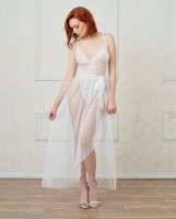 Stretch Lace Teddy & Sheer Mesh Maxi Skirt w/Adjustable Straps & G-String White MD