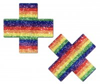 PASTEASE GLITTERING RAINBOW CROSS NIPPLE PASTIES