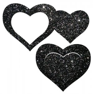 PASTEASE GLITTER PEEK A BOOB HEARTS BLACK
