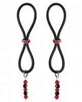 Bijoux de Nip Nipple Halos Red Gem Slider - Red/Black