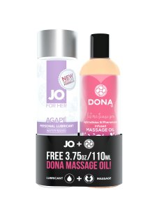 JO AGAPE ORIGINAL 4 OZ + FREE DONA FLIRTY MASSAGE OIL 3.75OZ