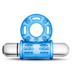 STAY HARD 10 FUNCTION BULL RING BLUE VIBRATING