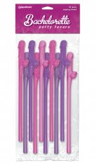 BACHELORETTE DICKY SIPPING STRAWS 10PC